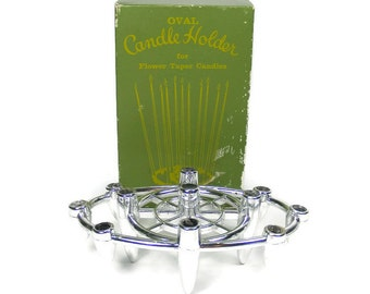 Oval Candle Holder holds 11 Flower Taper Candles Mini Taper Candle Centerpiece