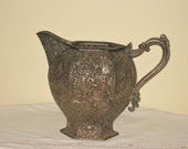 Vintage Barbour Silver Company Water Pitcher, Antique Victorian Repousse Dutch Silver Metal Pitcher, Late 1800s Ornate Silver Plate