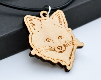 Fox Face Necklace Laser Engraved from Birch Wood on Leather Cord Hand Drawn Woodland Forest Animal Gift for Men Guys Women