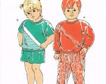 90s Toddler Sweatshirt, Jogging Pants Pattern Kwik Sew 2073 Size 1 2 3 4 Vintage 1991 Sewing Pattern T Shirt Shorts Knit Fabric Jogging Suit