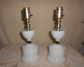 Milk Glass Table Lamp w/ Hobnail Base pair of 2