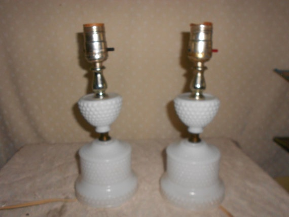 Glass Lamp Bases South Africa: Milk Glass Table Lamp W/ Hobnail Base Pair Of 2