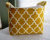 Fabric Organizer Basket Storage Bin Container  - Yellow Garden Tarika