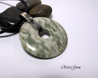 Sterling Silver Gemstone Pendant, Serpentine & White Quartz, Sterling Silver Bail, Statement Piece