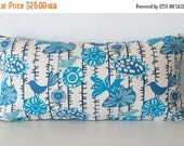 ON SALE Lumbar pillow cover - 12x24 - Premier fabric - Print Menagerie Arctic Blue-Natural