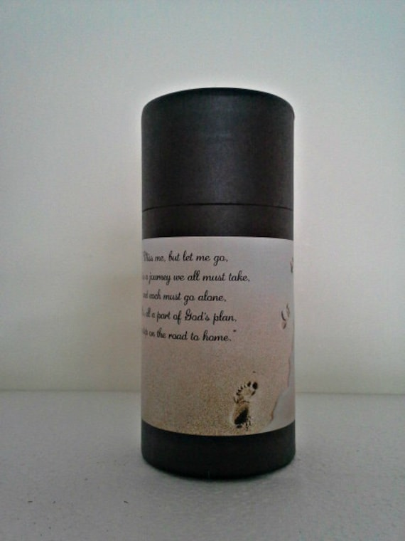 """Black Eco-Friendly Cremation Urn Scattering Tube w/Telescopic Lid - Biodegradable - Style """"Footprints"""""""