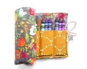 Crayon Roll - Budquette Nightfall  - flower crayon holder, toddler gift, girls gift, preschool coloring, kids journaling, big sister gift