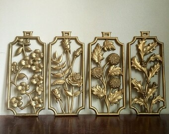 SALE: Presidents Day Hol Vintage Sexton 4 Seasons Gold Wall Hanging.