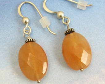 Sterling Silver Wire Wrapped Orange Jade Drop Earrings with Sterling French Earwire