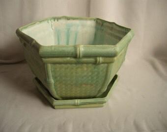 Wicker/ Bamboo Hex Shaped Ceramic Planter