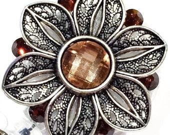 Antique Vintage-Styled Flower & Swarovski Crystal Embellished Swivel-Back Retractable ID Badge Reel