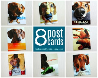 Hello My Friend Assorted Dachshund Postcard Set