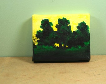 Morning Sunrise Small Acrylic Painting . Mini Acrylic Painting . Landscape Forest Painting . Nature Art