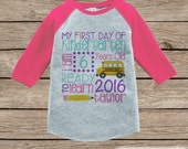 Girls First Day of Kindergarten Outfit - Personalized Kindergarten Stats Shirt - Kids Stats Pink Raglan - Girls My 1st Day of School Outfit