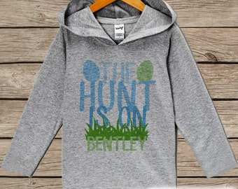 Boys Easter Outfit - Funny The Hunt Is On Hoodie - Easter Egg Hunt Pullover - Baby Boys Easter Outfit - Novelty Humorous Grey Toddler Hoodie