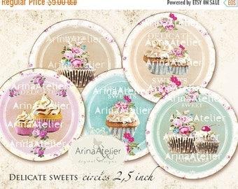 SALE 30% OFF - CIRCLES Delicate Sweets - 2,5inch circles - Cupcakes - Shabby chic Circles - Digital Collage CIrcles - pocket mirrors, tags,