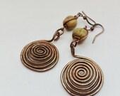 Long Boho Copper Spiral and Job's Tears Hippie Yoga Earrings Rustic Tribal Earthy Handmade