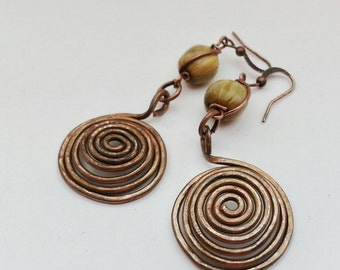 Long Boho Copper Spiral and Job's Tears Hippie Yoga Earrings Rustic Tribal Earthy Handmade