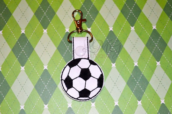 Soccer Ball Snap Tab Key Fob - MLS, Futbol - FIFA - White Vinyl with Black Embroidery - Team Gift