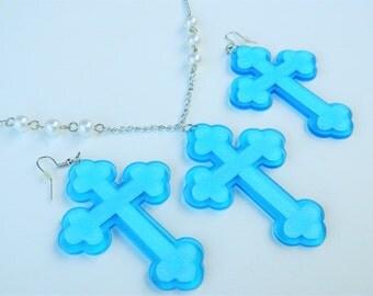 Large Blue Glitter Acrylic Cross Necklace and Dangle Earrings Set Fairy Kei Oshare Kei Decora Spank Fashion