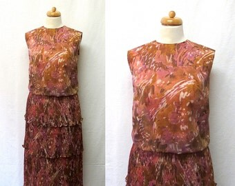 1960s / 70s Vintage Crepe Chiffon Dress / Abstract Marbled Print Pleated Tiered Dress