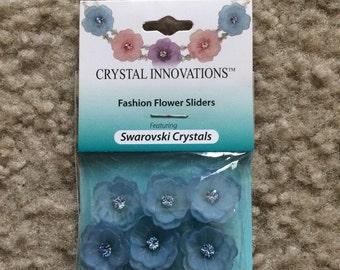 New 6 Piece, Swarovski Crystal Slider, Spacer, Finding, 3D, Flower, Floral, Fancy, Fashion, Blue