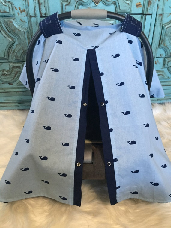 CAR SEAT COVER / carseat canopy / nursing cover / unisex / boy / Whale / nautical
