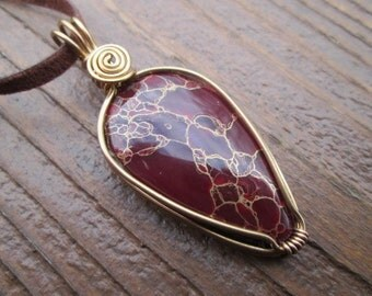 deep red goldenrod jasper and brass wire wrapped necklace
