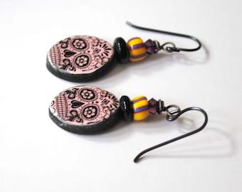 Pink Sugar Skull Earrings, Ceramic Earrings, Halloween Earrings, Unique Artisan Earrings, Day of the Dead Jewelry, Spooky Earrings