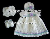 RESERVED for ALEX PASTRY - Crochet Baby Dress Set for 0-3M Baby Girl