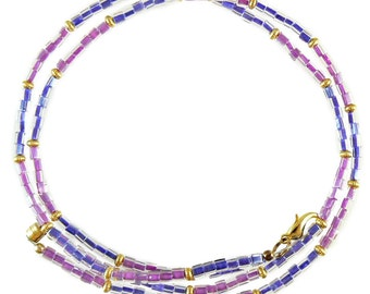 Periwinkle & purple beaded break away lanyard, necklace, and more