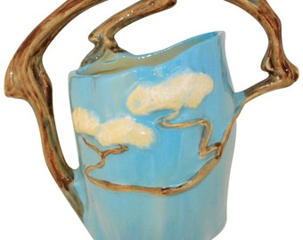 Roseville Pottery Ming Tree Blue Wall Pocket 566-8
