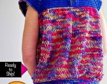 Blue and pink flecked sleeveless sweater ready to ship