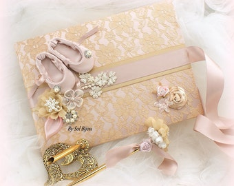 Wedding Guest Book, Rose, Blush, Gold, Ballerina, Bridal Shower, Graduation, Birthday, Anniversary, Vintage Wedding, Signature Book, Pen