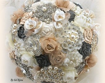 Champagne Bouquet,Brooch Bouquet,Pewter,Gray,Tan,Fabric Bouquet,Jeweled Bouquet,Vintage Wedding,Feather Bouquet,Elegant Wedding,Gatsby