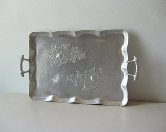 Vintage hammered metal tray Aluminum hammered serving tray