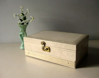 Vintage jewelry box ivory and gold jewelry box with lock