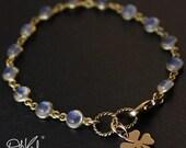 25% OFF Gold Rainbow Moonstone Bracelet - June Birthstone Bracelet - Clover Charm