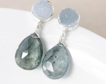 50% OFF SALE - Moss Green Aquamarine Earrings – Grey Druzy