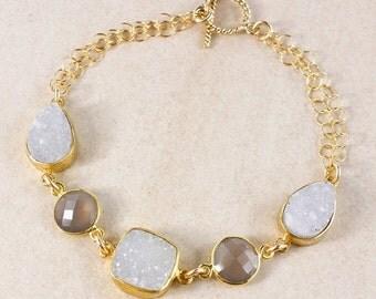 ON SALE Soft Grey Druzy and Chalcedony Bracelet – 14K Gold Filled – Choose Your Gemstones