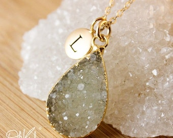 ON SALE Olive Green Druzy Necklace - Choose Your Druzy - Geode Necklaces, Initial Charm