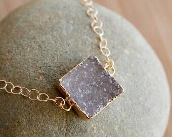 50% OFF Single Druzy Quartz Gemstone Bracelet - Gold Filled - Minimalistic, Choose Your Stone