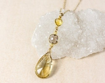 Citrine and Smokey Quartz Tiered Necklace – 14k Gold Filled Chain