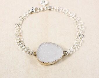 White Druzy Charm Bracelet – Initial Charm – Choose Your Druzy