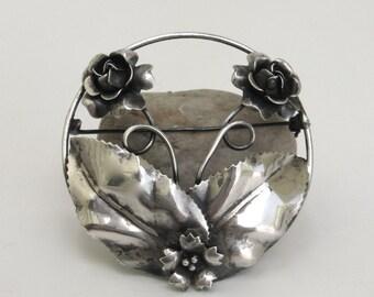 large floral silver brooch ...   vintage sterling silver pin  ...   flower brooch  ...   vintage gift