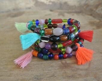 Circus Ole Vintage Glass Tassel  Beaded Bracelets