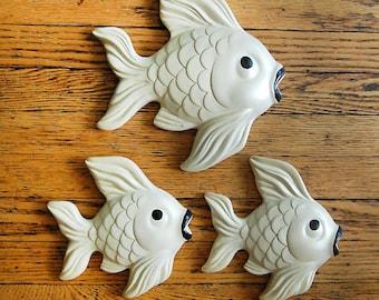 Vintage Chalkware Fish Miller Studio Mid Century Ceramic Wall Art Bathroom Beach Home Decor.