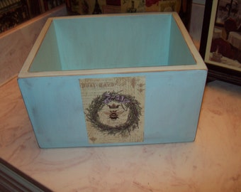 Pale blue French Bee storage box,Farmhouse decor,Paris decor,French rustic,French wedding decor,shabby chic decor,French decor