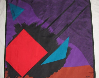 Vintage Bill Blass Square Silk Scarf - Abstract Geometric Pattern - Red, Brown, Purple, Blue - Triangles, Squares