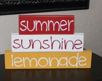 Summer Stackers- Summer Wood Decor, Summer Decor, Summer Wood Stacker Blocks